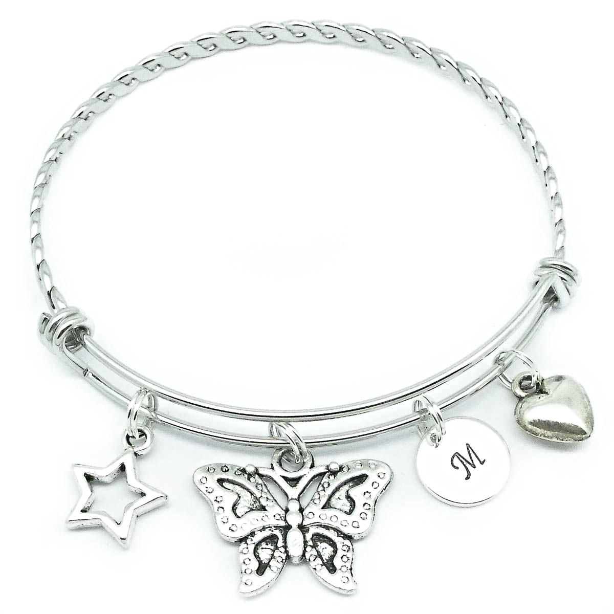Initial Charms For Bracelets: Butterfly Heart & Star Initial Charm Bracelet