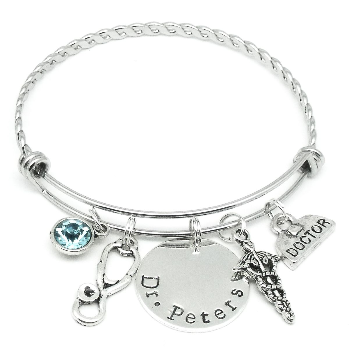 disc bracelet initial personalised original double