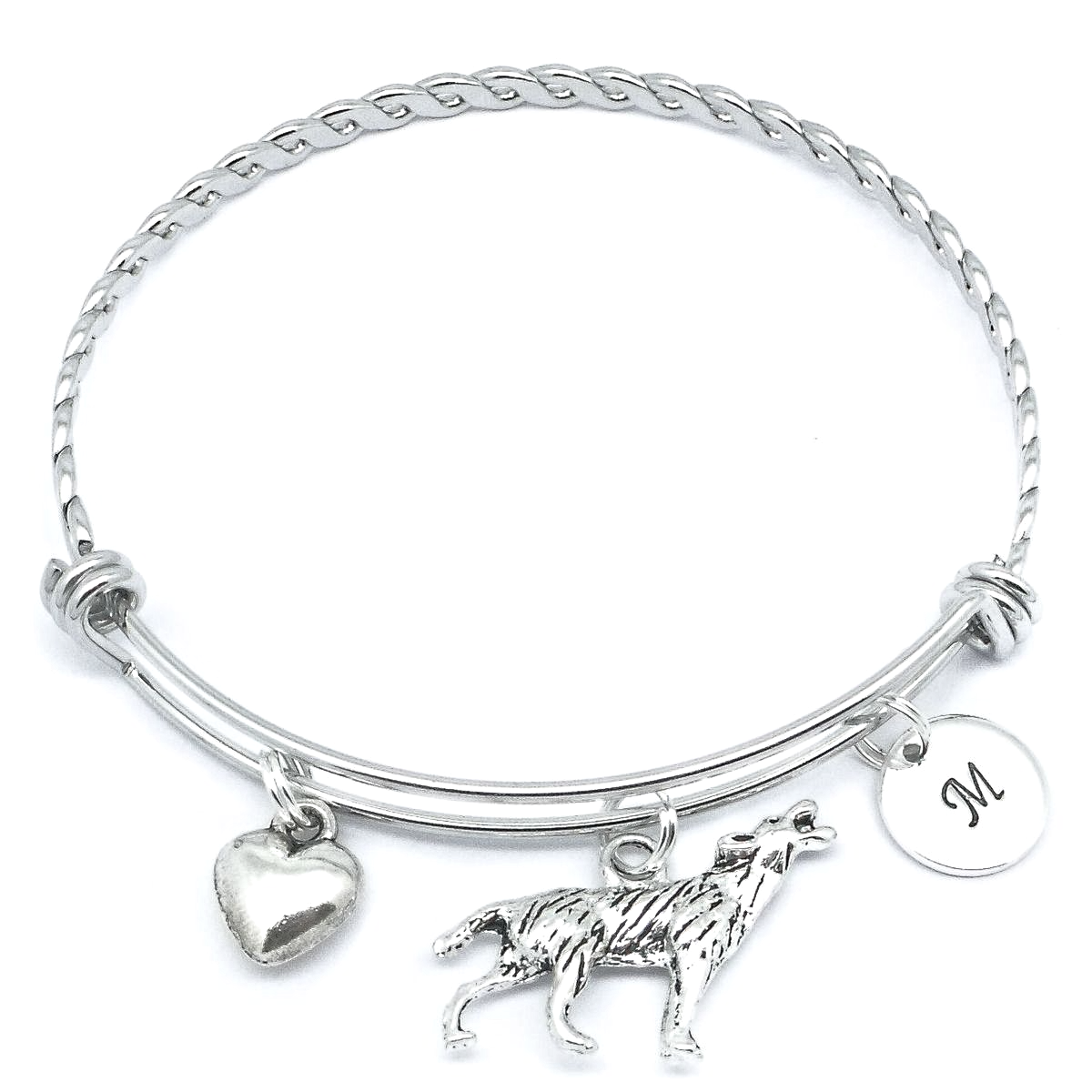 Wolf Charm Bracelet: Wolf Bracelet With Initial Charm Personalised Gift